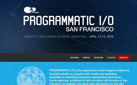 Screenshot of Home Page programmatic.io - PROGRAMMATIC I/O | PROGRAMMATIC I/O - captured Jan. 19, 2016