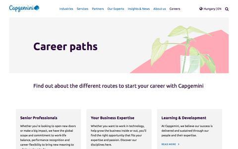 Screenshot of Jobs Page capgemini.com - Career paths - captured Jan. 20, 2018