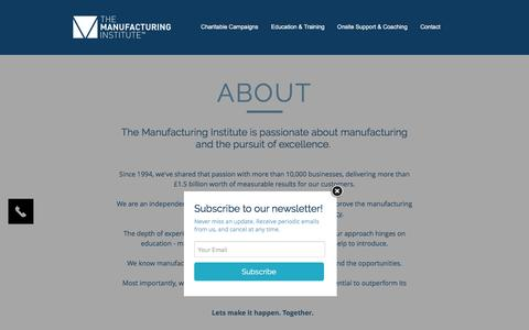 Screenshot of About Page manufacturinginstitute.co.uk - The Manufacturing Institute | About - captured Jan. 18, 2017