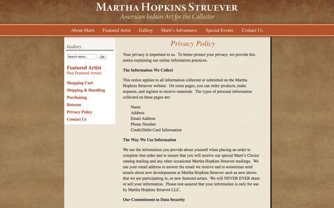 Screenshot of Privacy Page marthastruever.com - Privacy Policy - captured Oct. 27, 2014