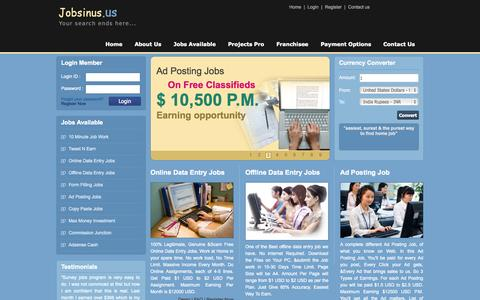 Screenshot of Home Page jobsinus.us - Data Entry, Data Entry Jobs, Home Based Jobs, Work At Home Jobs, Online / Offline Data Entry, Internet Jobs, Online Paid Jobs - captured Sept. 23, 2014