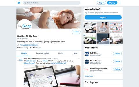 Tweets by ResMed Fix My Sleep (@FixMySleep) – Twitter