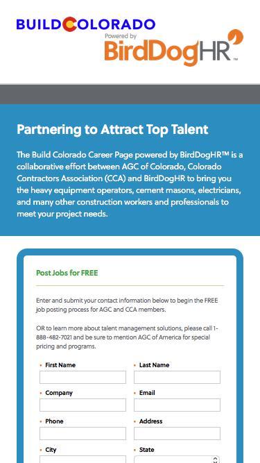 Screenshot of Landing Page  birddoghr.com - Build Colorado Career Page powered by BirdDogHR