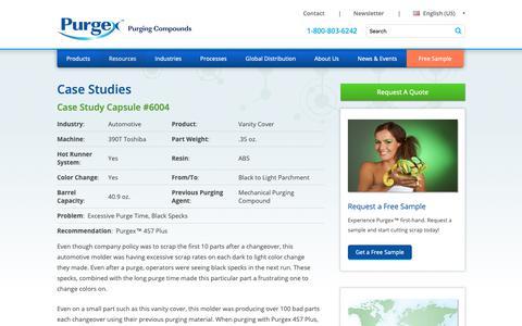 Screenshot of Case Studies Page purgexonline.com - Purging Compound Case Studies - Purging Compound Usage Example | Purgex - captured Sept. 30, 2018