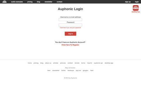 Screenshot of Login Page auphonic.com - Auphonic Login - captured Sept. 22, 2014