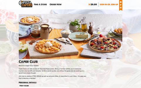 Screenshot of Signup Page pizzacapers.com.au - Become a Caper Club member - Sign Up Today - pizza-capers.com.au - captured Feb. 8, 2016