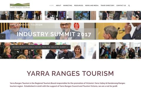 Screenshot of Home Page yarrarangestourism.com.au - Yarra Ranges Tourism | Official Regional Tourism Body - captured May 26, 2017