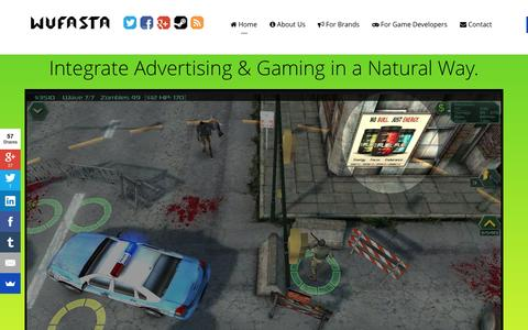 Screenshot of Home Page wufasta.co - Wufasta™ - The Premiere Engagement Platform for Games - captured Aug. 4, 2015
