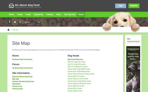 Screenshot of Site Map Page allaboutdogfood.co.uk - Site Map | All About Dog Food - captured Oct. 8, 2018