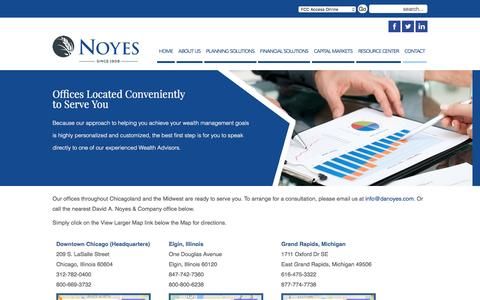 Screenshot of Contact Page Locations Page danoyes.com - Contact Us - Noyes - Wealth Management Advisors - captured Jan. 28, 2016