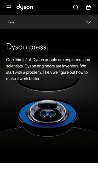 Screenshot of Press Page  dyson.com - Press  | Dyson