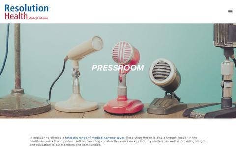Screenshot of Press Page resomed.co.za - Pressroom — Resolution Health - captured Dec. 2, 2016