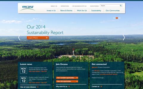 Screenshot of Home Page encana.com - Encana Corporation - captured Dec. 2, 2015