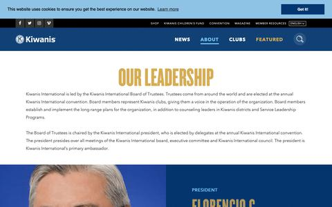 Screenshot of Team Page kiwanis.org - Leadership - captured Oct. 15, 2018