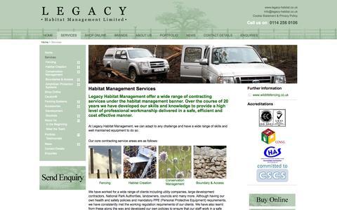 Screenshot of Services Page legacy-habitat.co.uk - Habitat Management Services - captured Oct. 2, 2014