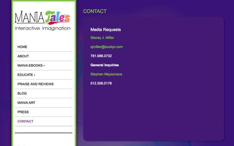 Screenshot of Contact Page maniatales.com - ManiaTales and EggMania | Contact | Press | Media | Interview Requests - captured Oct. 2, 2014