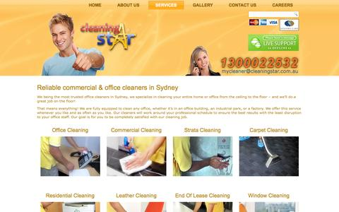 Screenshot of Services Page cleaningstar.com.au - Range of Commercial Cleaning Services–Office Cleaning and Carpet Cleaning Services - captured Sept. 30, 2014