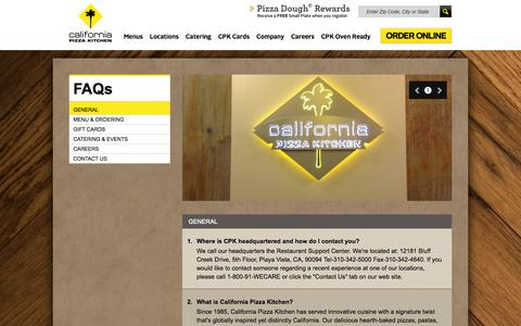 Screenshot of FAQ Page cpk.com - California Pizza Kitchen - captured Sept. 23, 2014