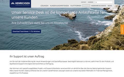Screenshot of Support Page henrichsen.de - Support | Henrichsen AG - captured Oct. 5, 2016