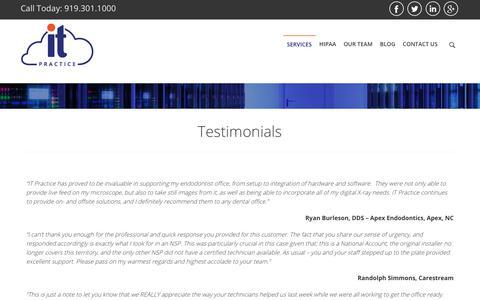 Screenshot of Testimonials Page itpractice.com - ITP Complete Cloud  »  IT Practice - captured Oct. 5, 2017