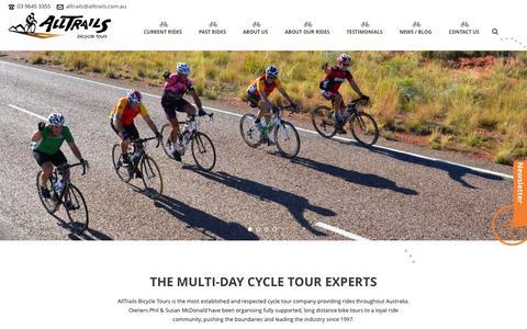 Screenshot of Home Page alltrails.com.au - AllTrails Bicycle Tours Australia - captured Oct. 8, 2015