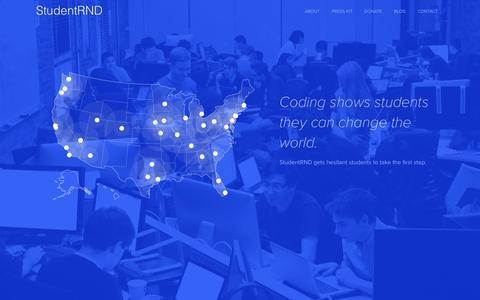 Screenshot of Home Page studentrnd.org - StudentRND - captured Feb. 25, 2016