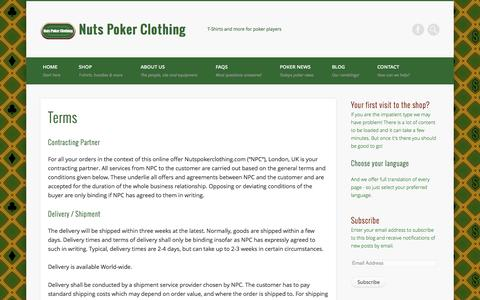 Screenshot of Terms Page nutspokerclothing.com - Terms - Nuts Poker Clothing - captured Sept. 30, 2014