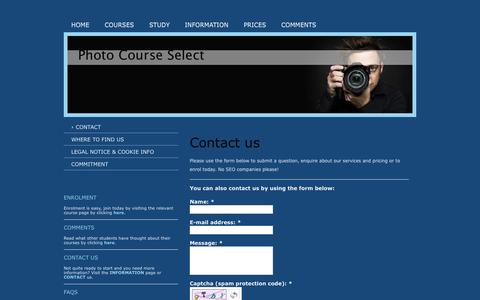 Screenshot of Contact Page photographycourseselect.co.uk - Rona Cox 2013 - Contact - captured Oct. 28, 2014