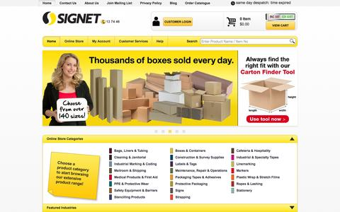 Screenshot of Home Page signet.net.au - Signet - Always the best place for packaging, safety and cleaning supplies - captured Sept. 19, 2014