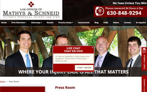 Screenshot of Press Page mathyslaw.com - Law Firm Media Inquiries For Mathys & Schneid - captured Sept. 27, 2018