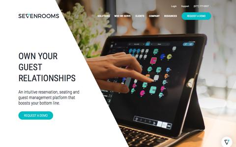 Screenshot of Home Page Products Page sevenrooms.com - Hospitality Management Software | SEVENROOMS - captured May 23, 2018