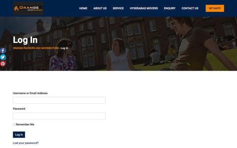 Screenshot of Login Page orangepackersmovers.com - Log In - ORANGE PACKERS AND MOVERS PUNE - captured Oct. 14, 2019