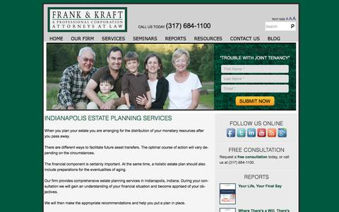 Screenshot of Services Page frankkraft.com - Indianapolis Estate Planning Services - Frank & Kraft, A Professional CorporationFrank & Kraft, A Professional Corporation - captured June 23, 2016