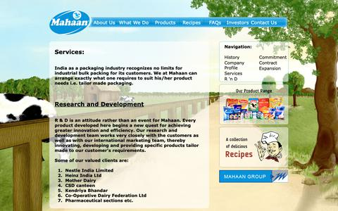 Screenshot of Services Page mahaanfoods.com - Mahaan Foods Limited | About Us | Services; Reasearch and Development - captured Nov. 12, 2018