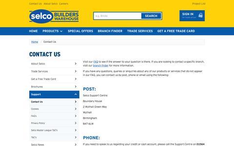 Screenshot of Contact Page selcobw.com - Contact US - captured Sept. 23, 2014