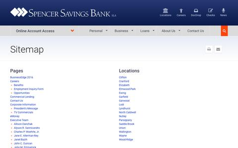 Screenshot of Site Map Page spencersavings.com - Sitemap | Spencer Savings Bank: Personal and Business Banking in NJ - captured Dec. 1, 2016