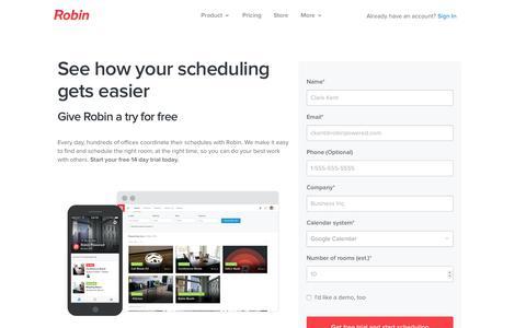 Screenshot of Trial Page robinpowered.com - Start a free trial - Robin - captured Nov. 11, 2015