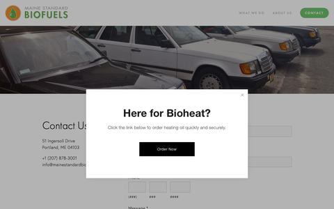 Screenshot of Contact Page mainestandardbiofuels.com - Contact — Maine Standard Biofuels - captured Nov. 4, 2018