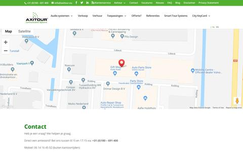 Screenshot of Contact Page axitour.nl - Contact - Axitour - captured Oct. 4, 2018