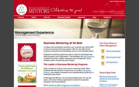 Screenshot of Home Page management-mentors.com - Business Mentoring Programs – e-Mentoring Software Management Mentors - captured Sept. 19, 2014