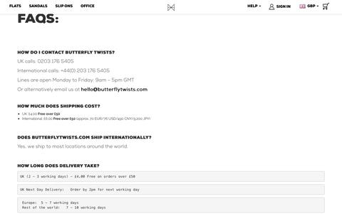 Screenshot of Support Page butterflytwists.com - Customer Service - captured June 3, 2017