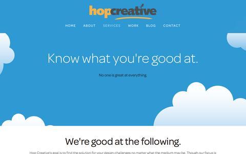 Screenshot of Services Page hopcreative.com - Web & Graphic Design, Development, UX, SquareSpace — Hop Creative – Web Design | Graphic Design :: Halifax, Nova Scotia - captured July 22, 2018