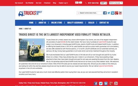 Screenshot of About Page trucksdirectuk.co.uk - About Us - captured Oct. 9, 2014