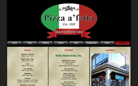 Screenshot of Contact Page Hours Page pizza-a-fetta.com - Contact Pizza a 'fetta | Hours | Restaurant  Contact | Office Contact - captured Oct. 22, 2014