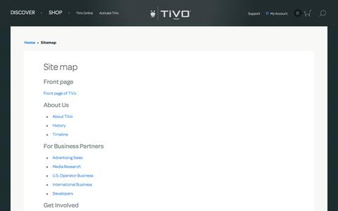 Screenshot of Site Map Page tivo.com - Site map | TiVo - captured Nov. 17, 2015