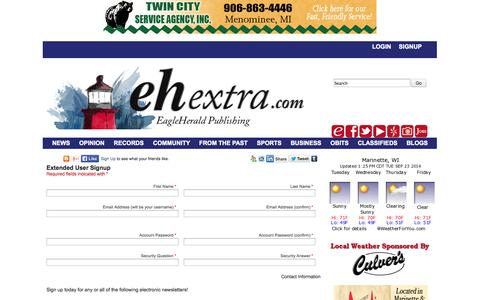 Screenshot of Signup Page ehextra.com - ENLSignup - EH Extra - captured Sept. 23, 2014