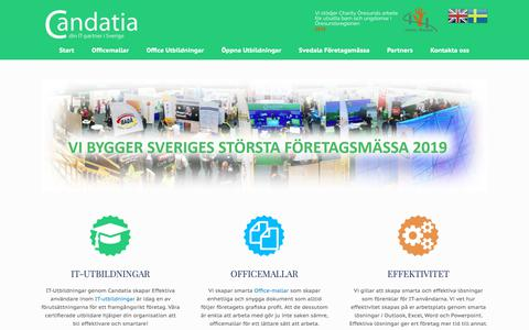 Screenshot of Home Page candatia.se - IT-Utbildningar - Officemallar - Officeutbildningar | Candatia - captured Nov. 5, 2018