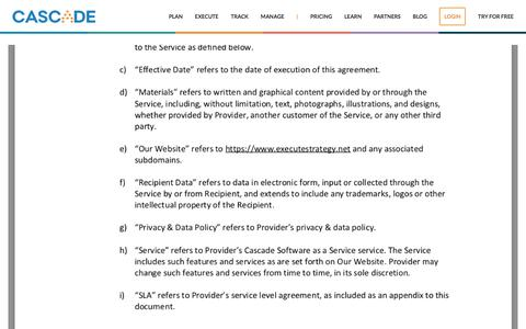 Screenshot of Terms Page executestrategy.net - Cascade Terms & Conditions | Cascade Strategy - captured Dec. 7, 2017