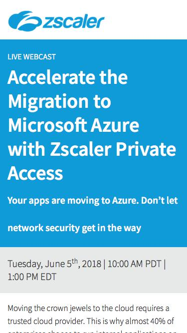 Microsoft Azure with Zscaler Private Access  Zscaler
