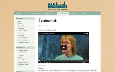 Screenshot of Testimonials Page drparkave.com - Testimonials - captured Sept. 30, 2014
